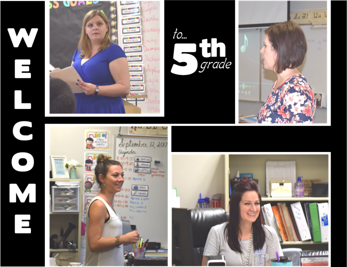 Welcome to 5th Grade Image with pictures of all 4 teachers.